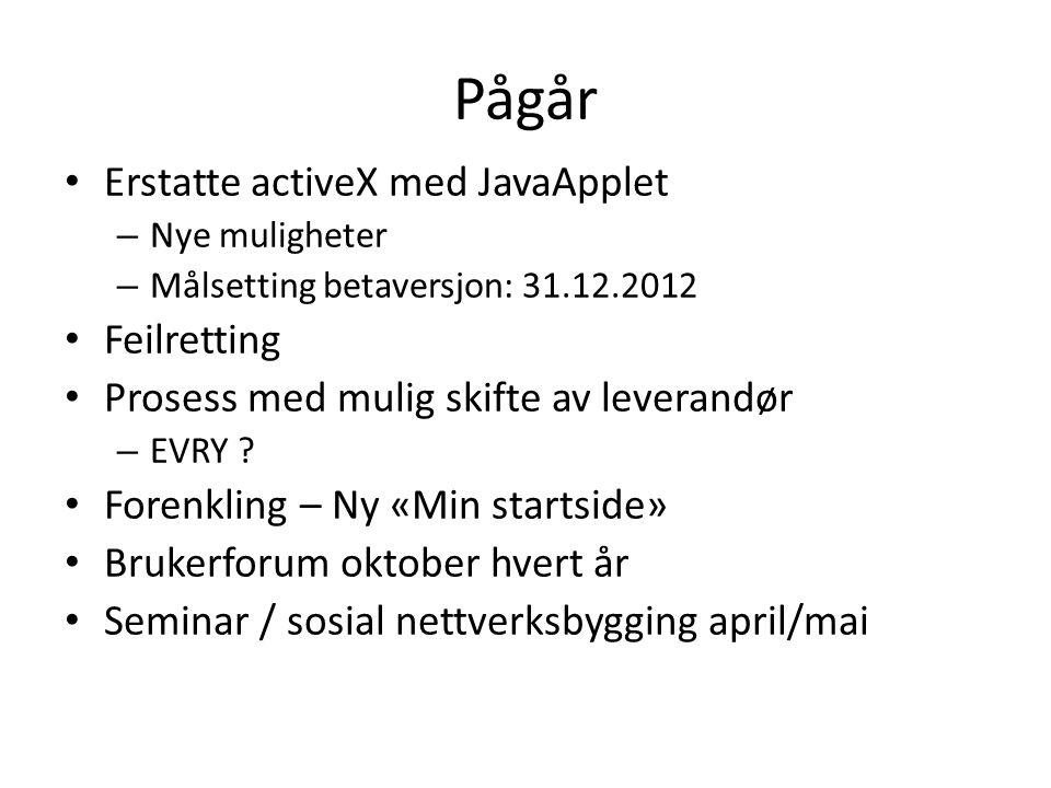 Pågår Erstatte activeX med JavaApplet – Nye muligheter – Målsetting betaversjon: 31.12.2012 Feilretting Prosess med mulig skifte av leverandør – EVRY .