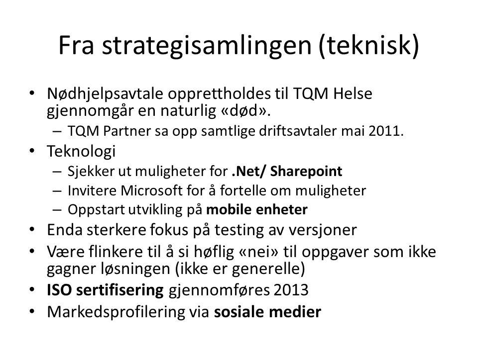 Fra strategisamlingen (teknisk) Nødhjelpsavtale opprettholdes til TQM Helse gjennomgår en naturlig «død».