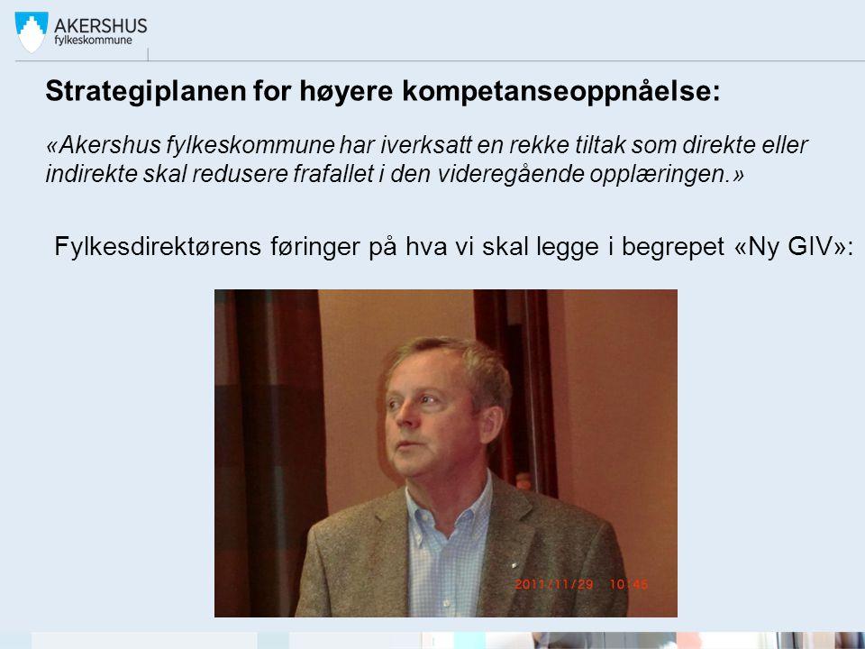 Strategiplanen for høyere kompetanseoppnåelse: «Akershus fylkeskommune har iverksatt en rekke tiltak som direkte eller indirekte skal redusere frafall