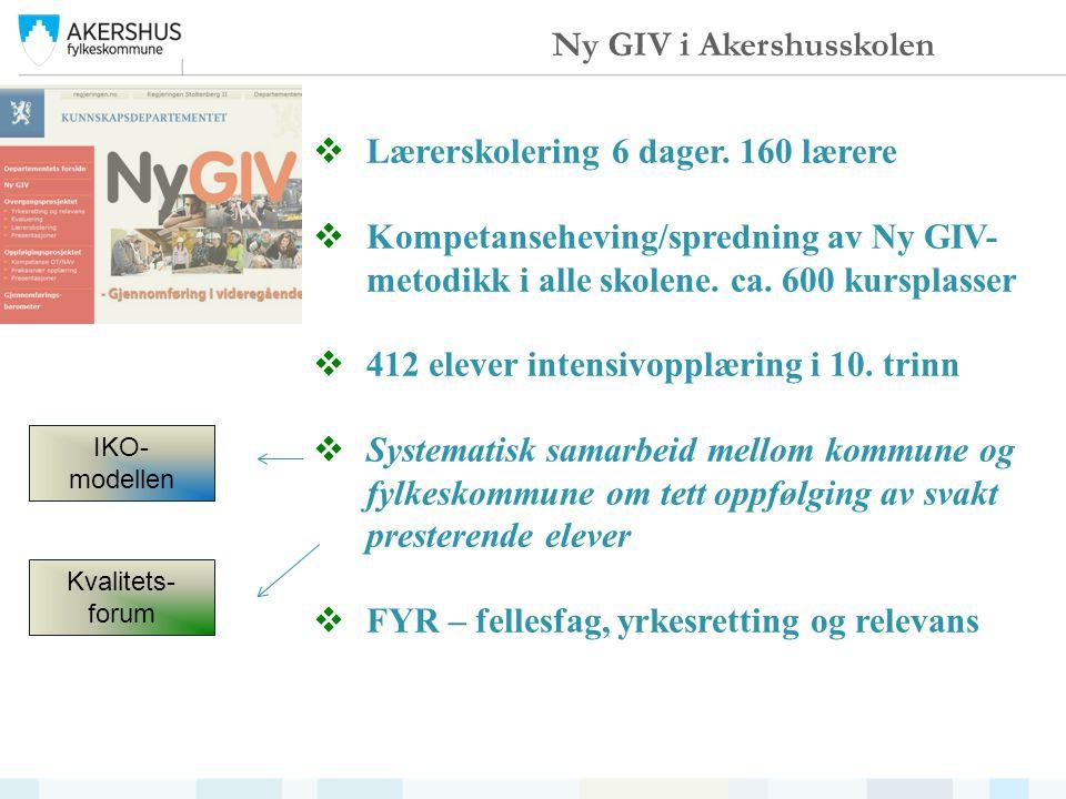  Lærerskolering 6 dager. 160 lærere  Kompetanseheving/spredning av Ny GIV- metodikk i alle skolene. ca. 600 kursplasser  412 elever intensivopplæri