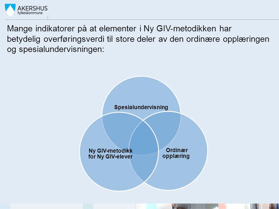 Mange indikatorer på at elementer i Ny GIV-metodikken har betydelig overføringsverdi til store deler av den ordinære opplæringen og spesialundervisningen: Spesialundervisning Ordinær opplæring Ny GIV-metodikk for Ny GIV-elever