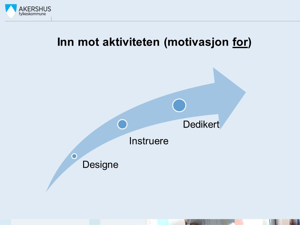 Inn mot aktiviteten (motivasjon for) Designe Instruere Dedikert