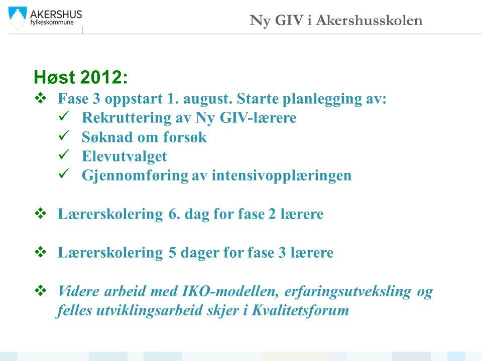 Høst 2012:  Fase 3 oppstart 1. august.