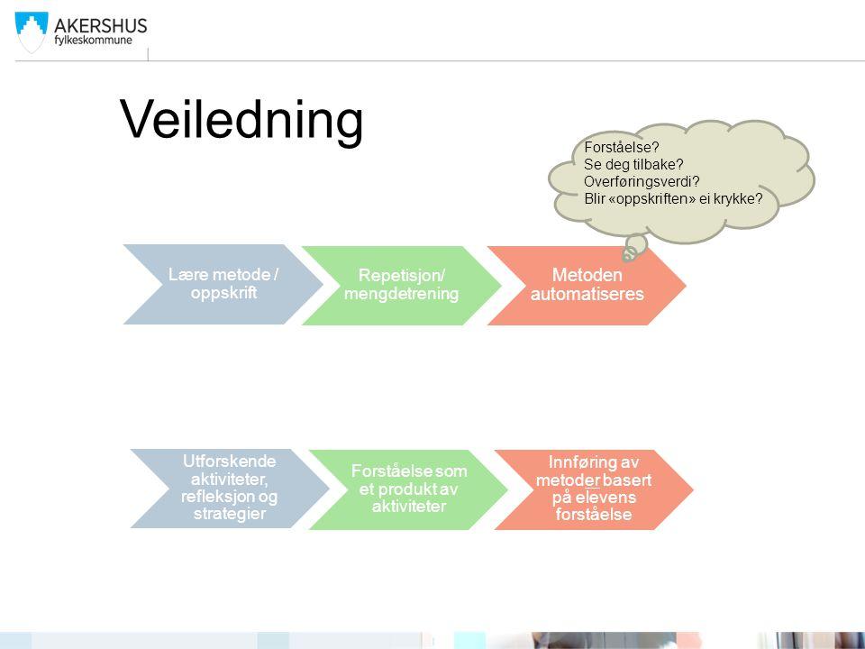 Veiledning Lære metode / oppskrift Repetisjon/ mengdetrening Metoden automatiseres Utforskende aktiviteter, refleksjon og strategier Forståelse som et
