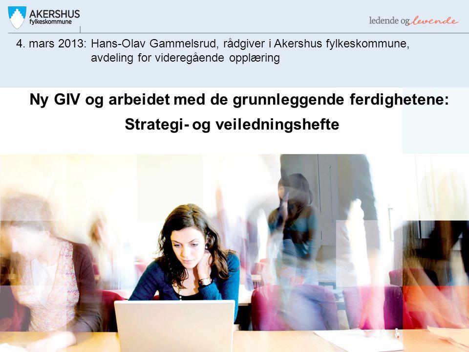 Ny GIV og arbeidet med de grunnleggende ferdighetene: Strategi- og veiledningshefte 4. mars 2013: Hans-Olav Gammelsrud, rådgiver i Akershus fylkeskomm