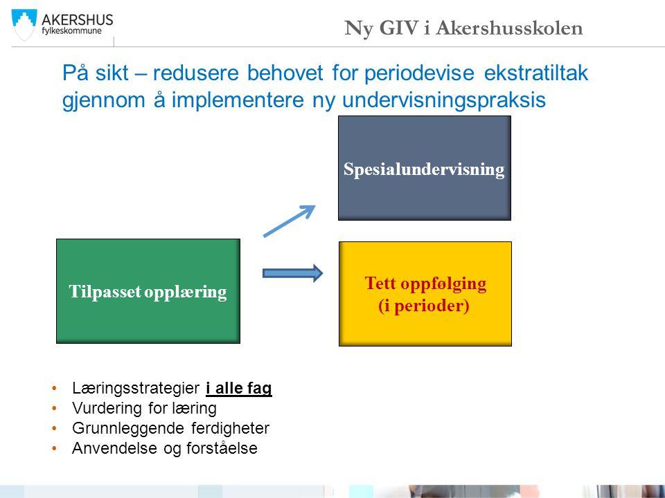 På sikt – redusere behovet for periodevise ekstratiltak gjennom å implementere ny undervisningspraksis Ny GIV i Akershusskolen Tilpasset opplæring Tet