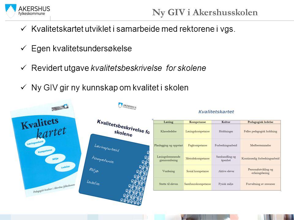 Ny GIV i Akershusskolen Kvalitetskartet utviklet i samarbeide med rektorene i vgs. Egen kvalitetsundersøkelse Revidert utgave kvalitetsbeskrivelse for