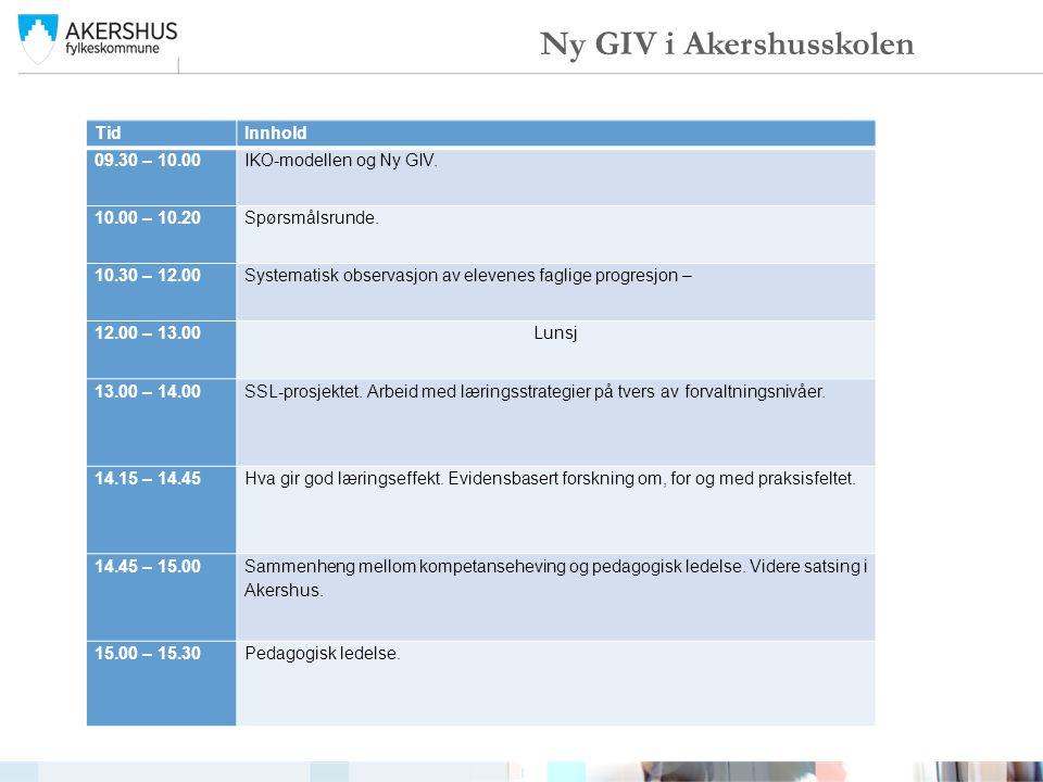TidInnhold 09.30 – 10.00IKO-modellen og Ny GIV. 10.00 – 10.20 Spørsmålsrunde. 10.30 – 12.00 Systematisk observasjon av elevenes faglige progresjon – 1