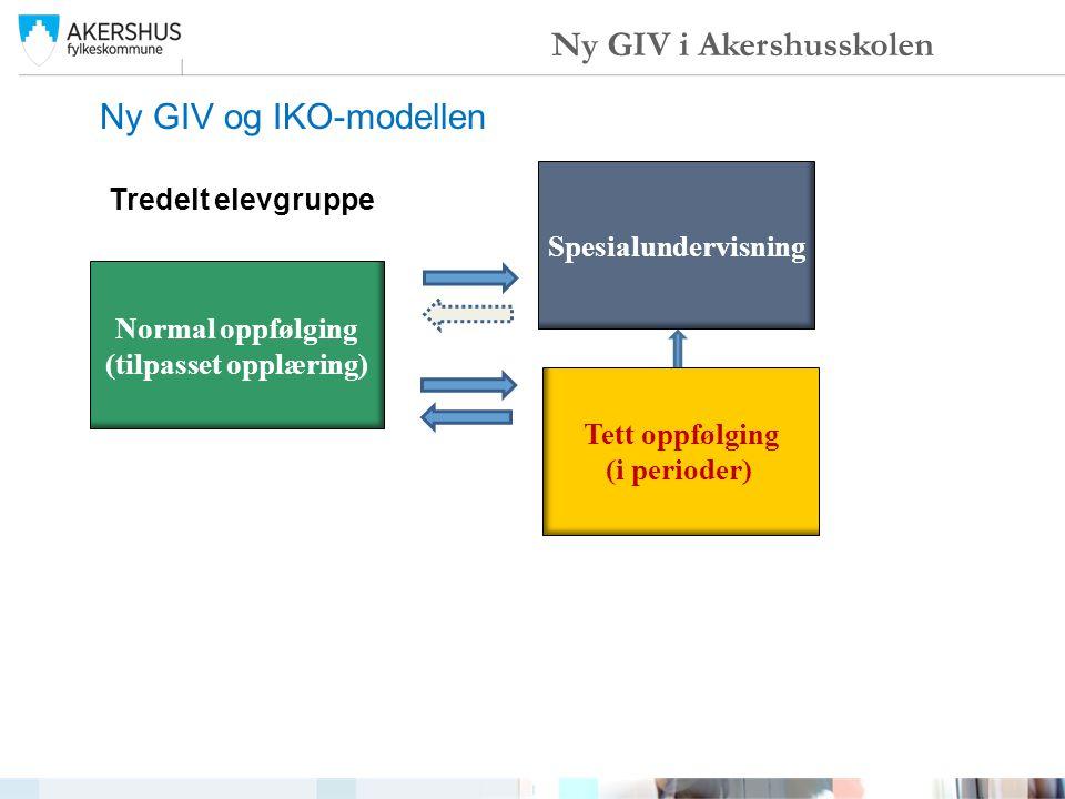 Ny GIV og IKO-modellen Ny GIV i Akershusskolen Normal oppfølging (tilpasset opplæring) Spesialundervisning Tett oppfølging (i perioder) Tredelt elevgr
