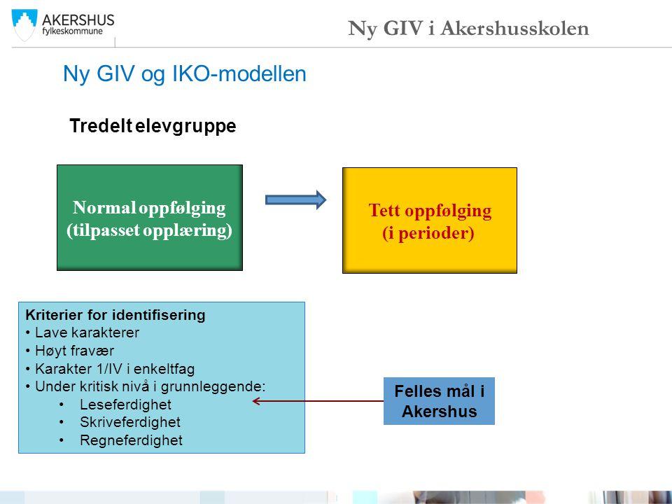 Ny GIV og IKO-modellen Ny GIV i Akershusskolen Normal oppfølging (tilpasset opplæring) Tett oppfølging (i perioder) Tredelt elevgruppe Kriterier for i