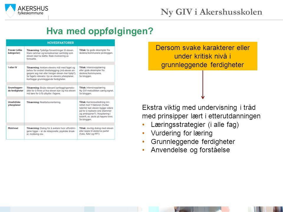Hva med oppfølgingen? Ny GIV i Akershusskolen Dersom svake karakterer eller under kritisk nivå i grunnleggende ferdigheter Ekstra viktig med undervisn
