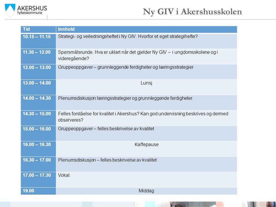 TidInnhold 10.15 – 11.15 Strategi- og veiledningsheftet i Ny GIV. Hvorfor et eget strategihefte? 11.30 – 12.00 Spørsmålsrunde. Hva er uklart når det g