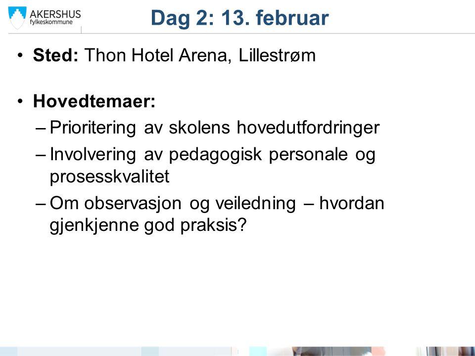 Sted: Thon Hotel Arena, Lillestrøm Hovedtemaer: –Prioritering av skolens hovedutfordringer –Involvering av pedagogisk personale og prosesskvalitet –Om observasjon og veiledning – hvordan gjenkjenne god praksis.