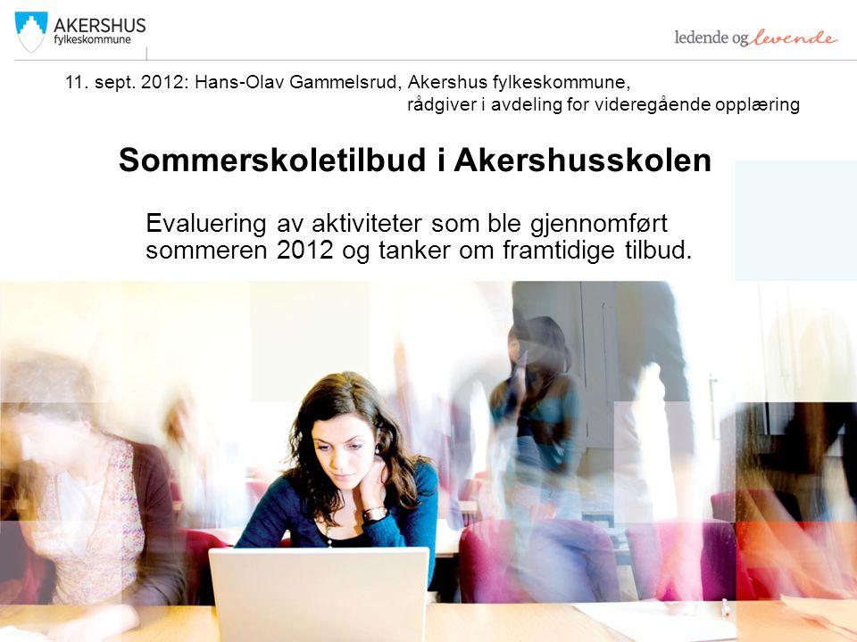 Sommerskoletilbud i Akershusskolen Evaluering av aktiviteter som ble gjennomført sommeren 2012 og tanker om framtidige tilbud.