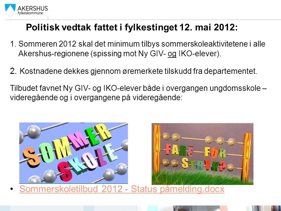 Politisk vedtak fattet i fylkestinget 12. mai 2012: 1.