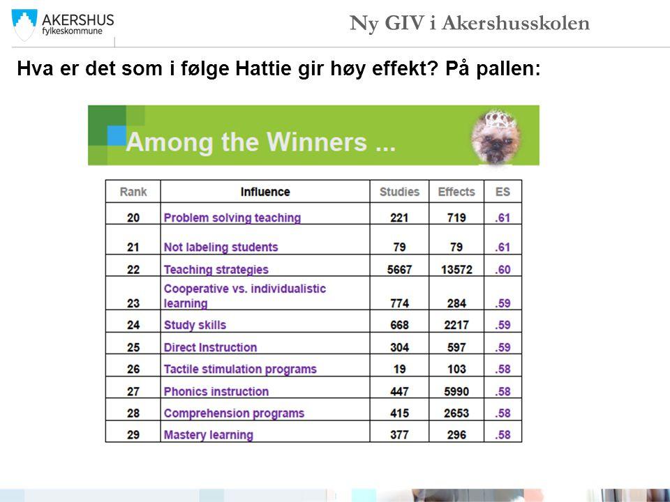 Hva er det som i følge Hattie gir høy effekt? På pallen: Ny GIV i Akershusskolen