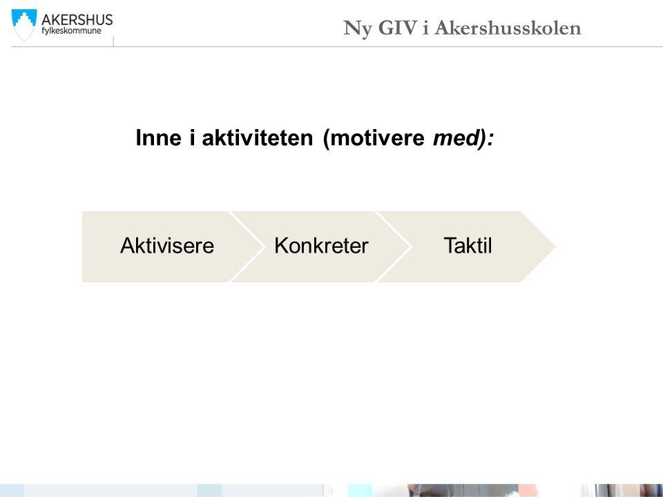 Inne i aktiviteten (motivere med): AktivisereKonkreterTaktil Ny GIV i Akershusskolen