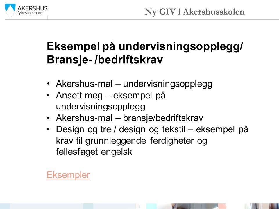 Eksempel på undervisningsopplegg/ Bransje- /bedriftskrav Akershus-mal – undervisningsopplegg Ansett meg – eksempel på undervisningsopplegg Akershus-ma