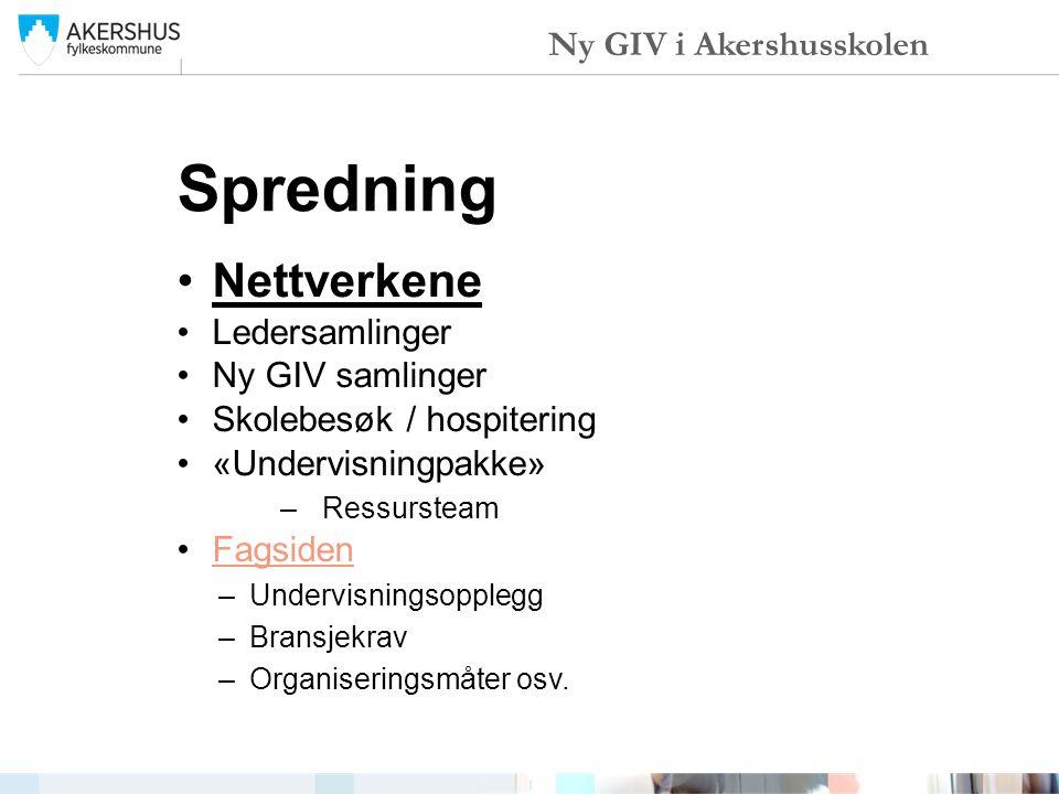 Spredning Nettverkene Ledersamlinger Ny GIV samlinger Skolebesøk / hospitering «Undervisningpakke» –Ressursteam Fagsiden –Undervisningsopplegg –Bransj