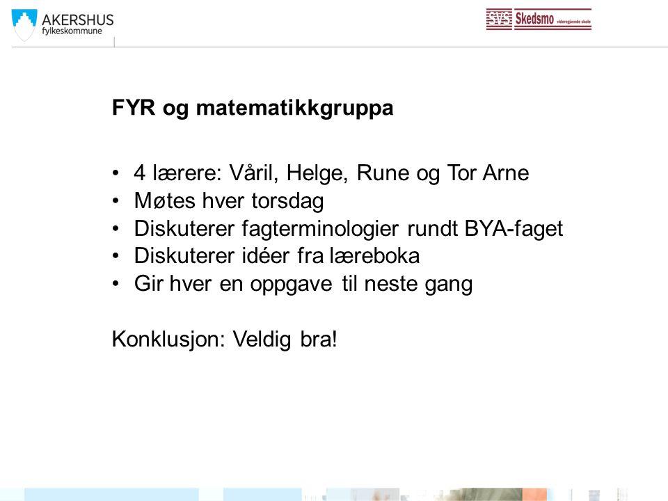 FYR og matematikkgruppa 4 lærere: Våril, Helge, Rune og Tor Arne Møtes hver torsdag Diskuterer fagterminologier rundt BYA-faget Diskuterer idéer fra l