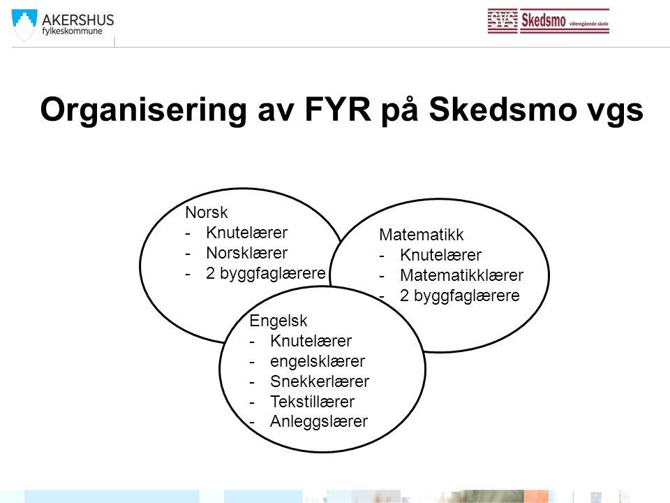 Organisering av FYR på Skedsmo vgs Norsk -Knutelærer -Norsklærer -2 byggfaglærere Matematikk -Knutelærer -Matematikklærer -2 byggfaglærere Engelsk -Kn