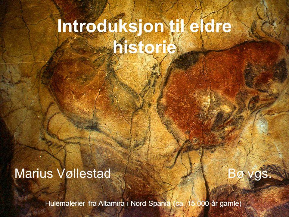 Introduksjon til eldre historie Marius Vøllestad Bø vgs. Hulemalerier fra Altamira i Nord-Spania (ca. 15.000 år gamle)
