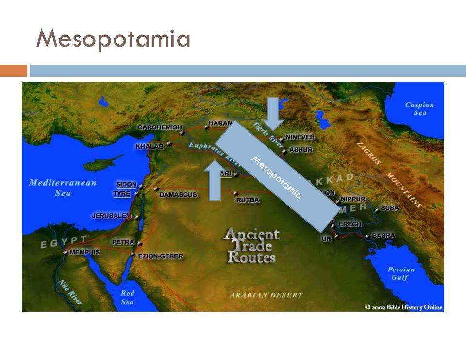 Mesopotamia  Landet mellom elvene (Eufrat og Tigris)  Jordbrukssamfunn for 7000 år siden  Organisert jordbruk med kanaler og diker  Små landsbyer vokste til store byer  Summererne grunnla den første sivilisasjonen  Begynte handel med andre samfunn  Førte til spredning av husdyr, frø og redskap Mesopotamia