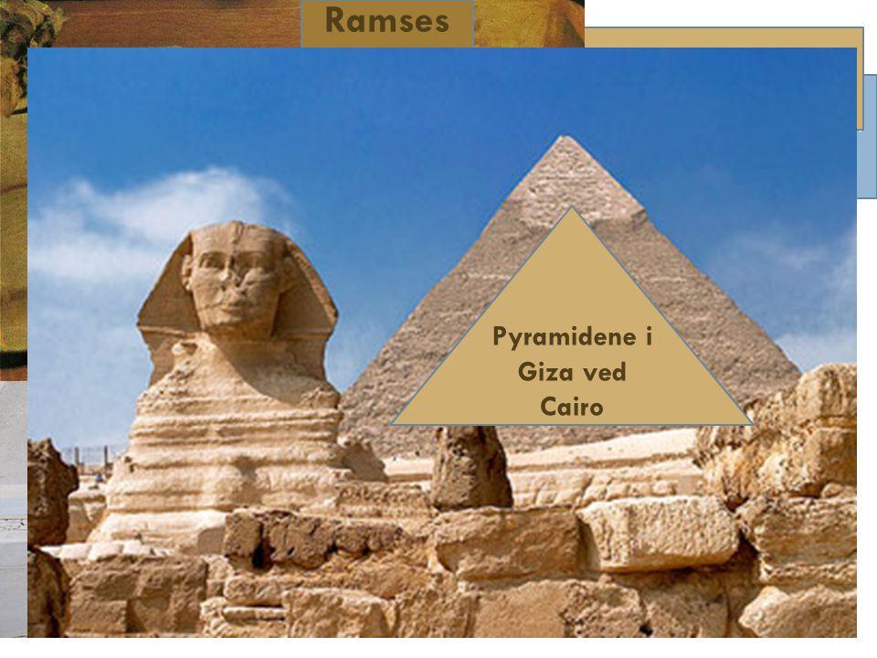 Egypt  Ca 7000 år siden de første byene ved Nilen ble dannet  Nil-dalen utviklet seg på samme måte som Mesopotamia  Sentralisering av makt og organisert jordbruk  Gullforekomster førte til handel  Fra ca 5000 år siden: Sentralisert makt hos Farao, som var konge og gud  Ca 2700 år siden: Egypt svekkes Ramses II's Abu Simbel-tempel i Sør-Egypt Kongenes dal ved Luxor Illustrasjon av Ramses II Ramses II Pyramidene i Giza ved Cairo