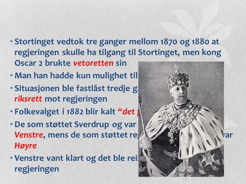 Stortinget vedtok tre ganger mellom 1870 og 1880 at regjeringen skulle ha tilgang til Stortinget, men kong Oscar 2 brukte vetoretten sin Man han hadde