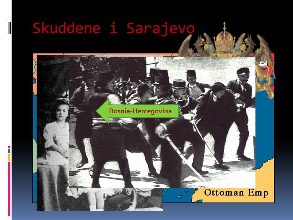 Skuddene i Sarajevo  28 juni 1914:  Kronprins Frans Ferdinand av Østerrike-Ungarn besøkte Sarajevo i Bosnia-Hercegovina med sin kone  Bosnia-Hercegovina var en del av det store keiserriket Østerrike-Ungarn  Følget ble utsatt for et bombeangrep, men prinsen ble ikke skadet  En offiserer blir skadet, men da prinsen dro for å besøke ham på sykehuset i sin åpne vogn ble han og prinsessen skutt og drept Bosnia-Hercegovina