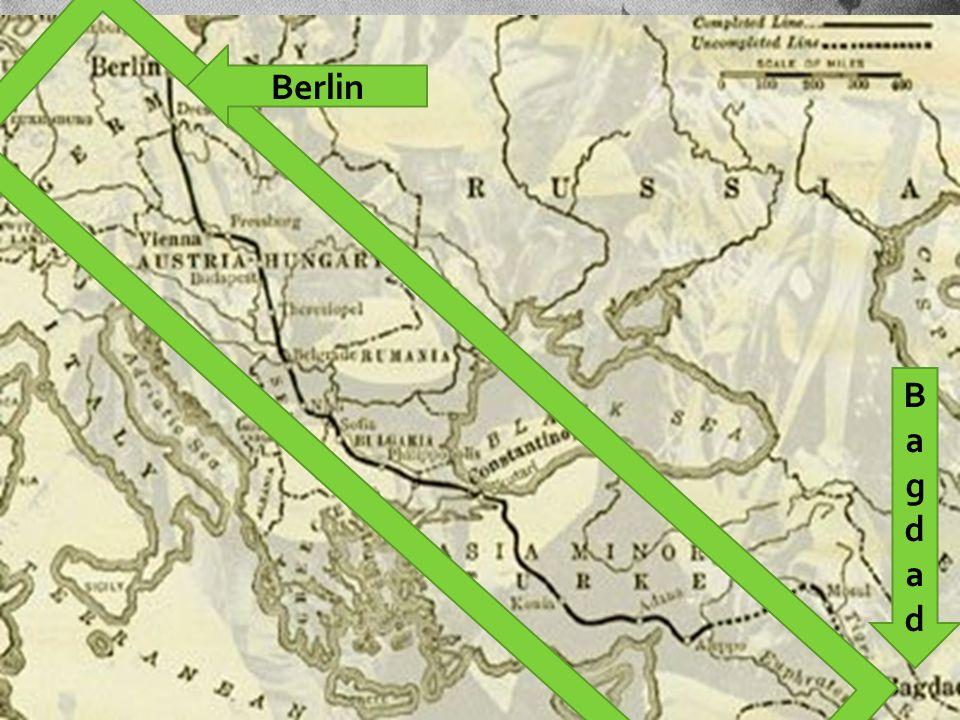 Noen årsaker til 1.Verdenskrig  Frankrike og Tyskland hadde et dårlig forhold etter den fransk-tyske krigen i 1870, og mange franskmenn ønsket revansj  Storbritannia likte dårlig at tyskerne bygget ut sin krigsflåte og ble mektigere til sjøs, og på den måten truet Storbritannias posisjon både militært og handelsmessig  Tyskerne planla en toglinje fra Berlin til Bagdad som britene ikke likte Alsace-Lorraine BagdadBagdad Berlin