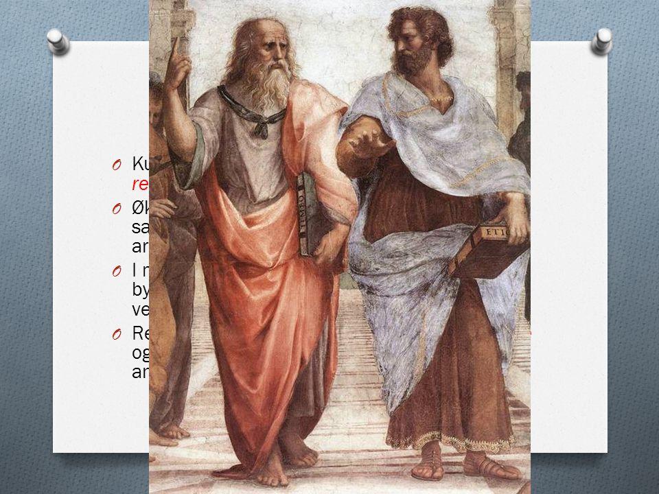 Kunst og kultur O Kulturelt sett kalles denne perioden renessansen O Økt rikdom i de italienske byene førte til stor satsning på kunst, litteratur, mu