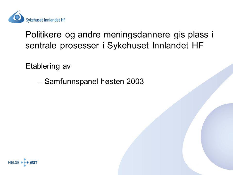 Politikere og andre meningsdannere gis plass i sentrale prosesser i Sykehuset Innlandet HF Etablering av –Samfunnspanel høsten 2003