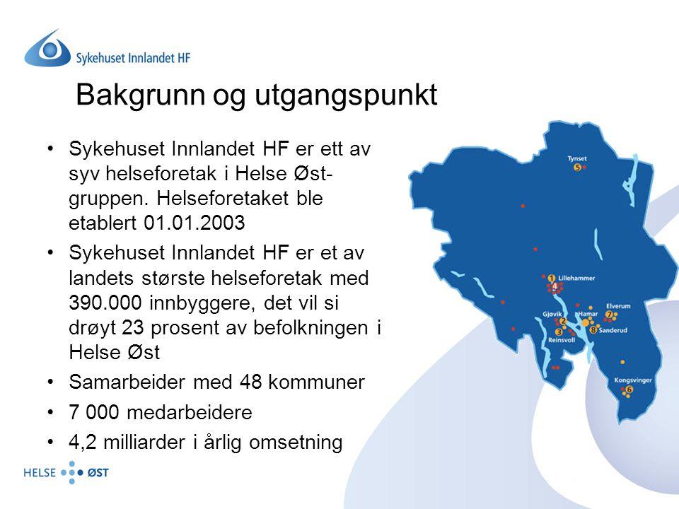 Bakgrunn og utgangspunkt Sykehuset Innlandet HF er ett av syv helseforetak i Helse Øst- gruppen. Helseforetaket ble etablert 01.01.2003 Sykehuset Innl