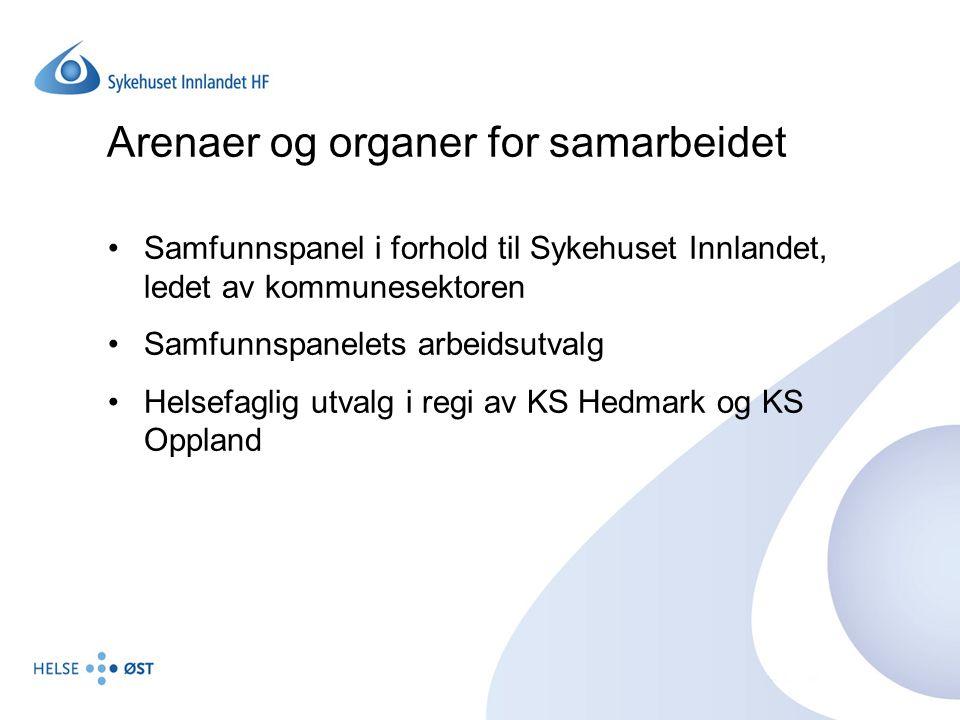 Arenaer og organer for samarbeidet Samfunnspanel i forhold til Sykehuset Innlandet, ledet av kommunesektoren Samfunnspanelets arbeidsutvalg Helsefagli