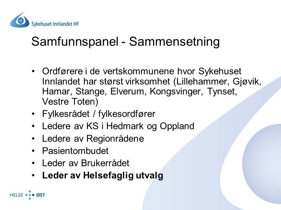 Samfunnspanel - Sammensetning Ordførere i de vertskommunene hvor Sykehuset Innlandet har størst virksomhet (Lillehammer, Gjøvik, Hamar, Stange, Elveru