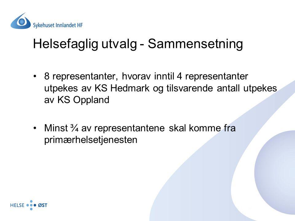 Helsefaglig utvalg - Sammensetning 8 representanter, hvorav inntil 4 representanter utpekes av KS Hedmark og tilsvarende antall utpekes av KS Oppland