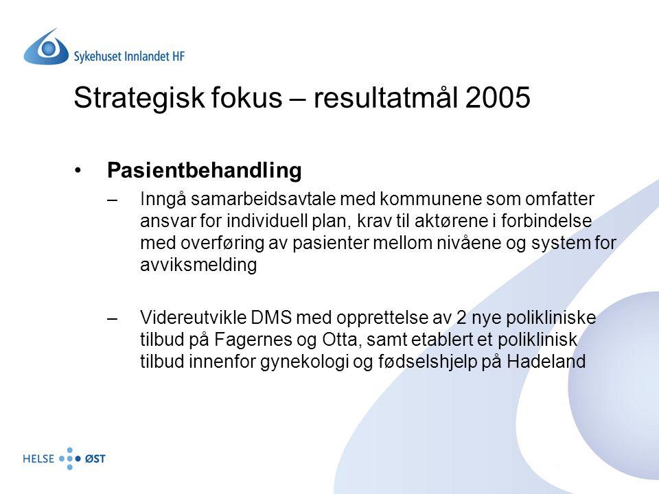 Strategisk fokus – resultatmål 2005 Organisasjon og ledelse –Prosjekt langsiktig struktur- og investeringsplan – Prosjekt 2020 gjennomført på en vellykket måte –Avtale mellom SI og kommunene klar innen 01.03.05