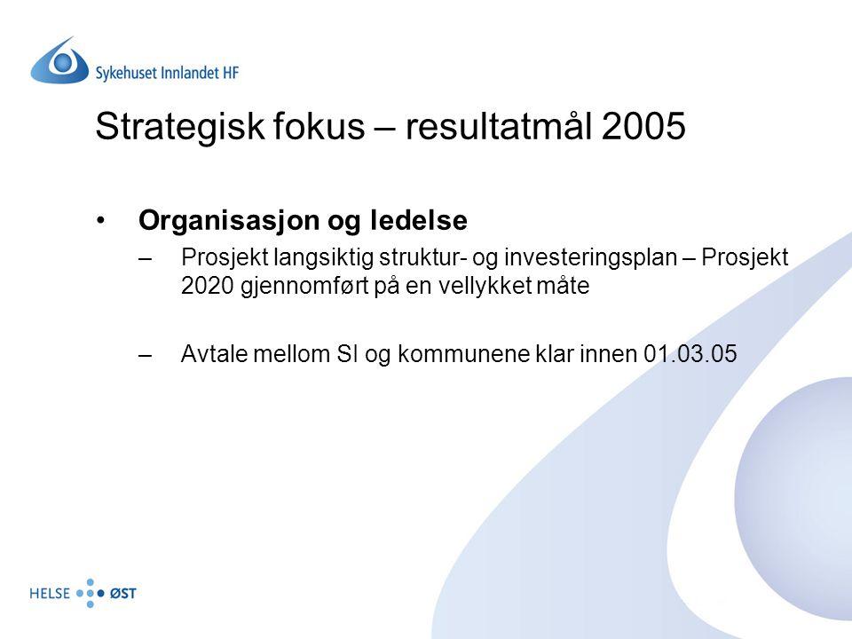 Strategisk fokus – resultatmål 2005 Organisasjon og ledelse –Prosjekt langsiktig struktur- og investeringsplan – Prosjekt 2020 gjennomført på en velly
