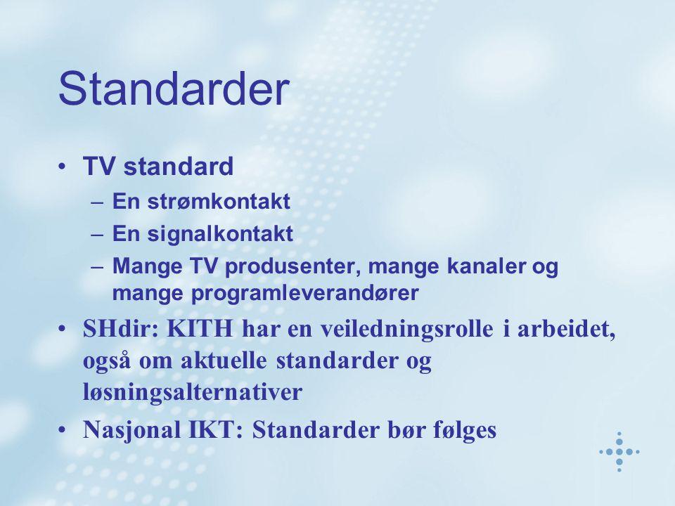 Standarder TV standard –En strømkontakt –En signalkontakt –Mange TV produsenter, mange kanaler og mange programleverandører SHdir: KITH har en veiledn