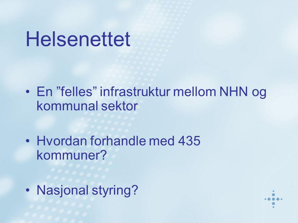 """Helsenettet En """"felles"""" infrastruktur mellom NHN og kommunal sektor Hvordan forhandle med 435 kommuner? Nasjonal styring?"""