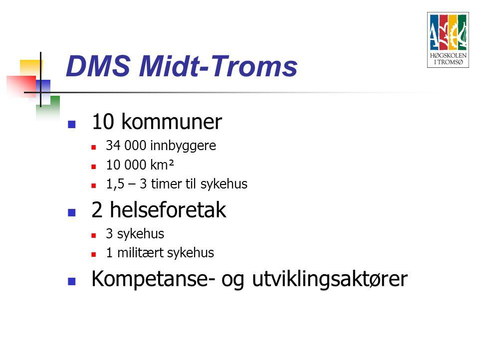 10 kommuner 34 000 innbyggere 10 000 km² 1,5 – 3 timer til sykehus 2 helseforetak 3 sykehus 1 militært sykehus Kompetanse- og utviklingsaktører DMS Midt-Troms