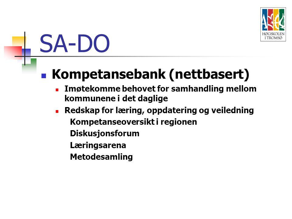 SA-DO Kompetansebank (nettbasert) Imøtekomme behovet for samhandling mellom kommunene i det daglige Redskap for læring, oppdatering og veiledning Kompetanseoversikt i regionen Diskusjonsforum Læringsarena Metodesamling