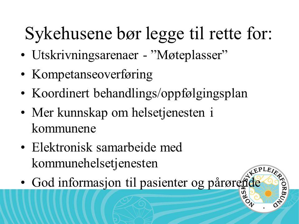 Sykehusene bør legge til rette for: Utskrivningsarenaer - Møteplasser Kompetanseoverføring Koordinert behandlings/oppfølgingsplan Mer kunnskap om helsetjenesten i kommunene Elektronisk samarbeide med kommunehelsetjenesten God informasjon til pasienter og pårørende