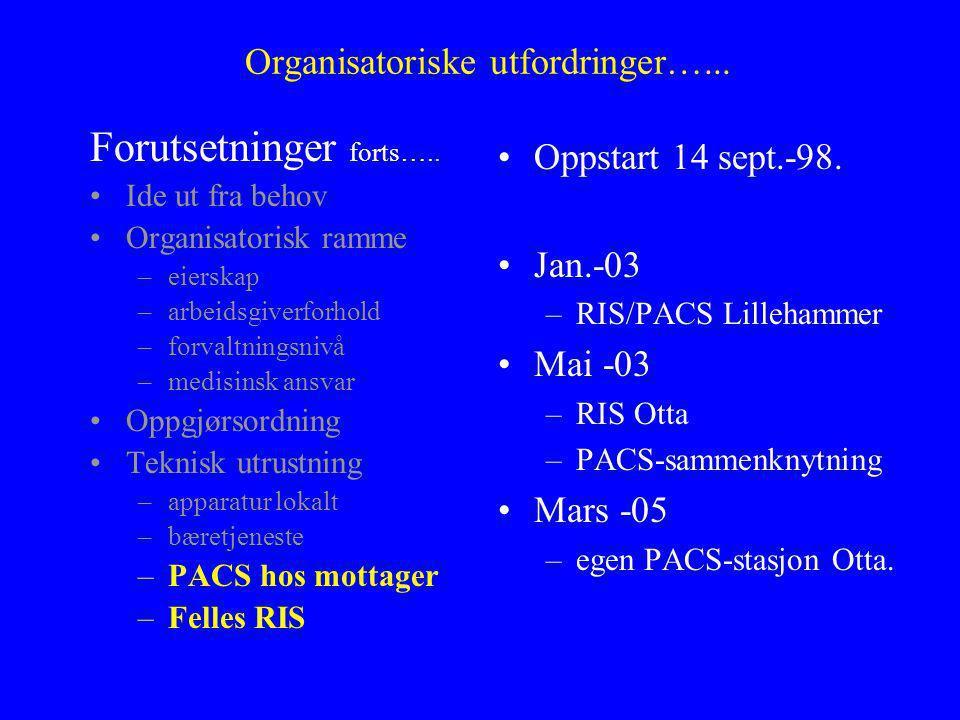 Organisatoriske utfordringer…... Oppstart 14 sept.-98.