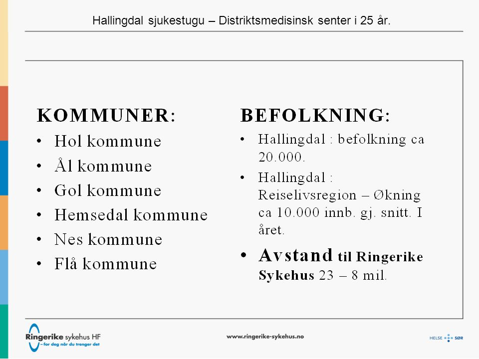 Hallingdal sjukestugu – Distriktsmedisinsk senter i 25 år NÆRHETSDIMENSJONER: -Samlokalisering – bygningsmasse (Ål) -HSS ansvar for drift - felles LV-sentral -HSS drifter – Felles legevakt.