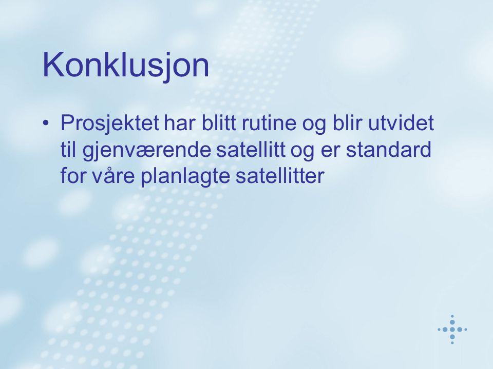 Konklusjon Prosjektet har blitt rutine og blir utvidet til gjenværende satellitt og er standard for våre planlagte satellitter
