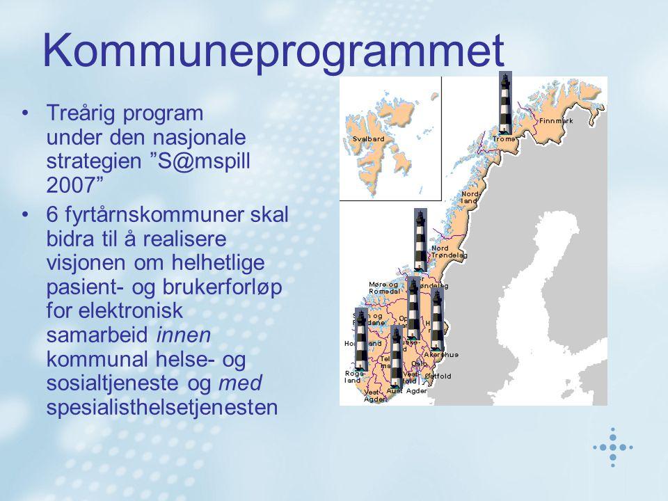 Kommuneprogrammet Treårig program under den nasjonale strategien S@mspill 2007 6 fyrtårnskommuner skal bidra til å realisere visjonen om helhetlige pasient- og brukerforløp for elektronisk samarbeid innen kommunal helse- og sosialtjeneste og med spesialisthelsetjenesten