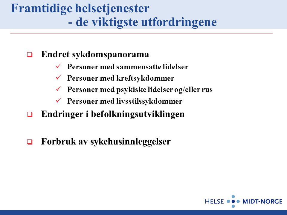 Framtidige helsetjenester - de viktigste utfordringene  Endret sykdomspanorama Personer med sammensatte lidelser Personer med kreftsykdommer Personer