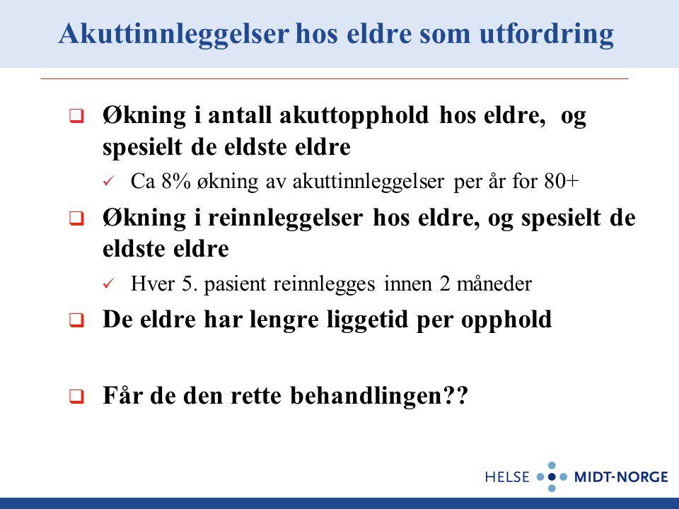 Akuttinnleggelser hos eldre som utfordring  Økning i antall akuttopphold hos eldre, og spesielt de eldste eldre Ca 8% økning av akuttinnleggelser per